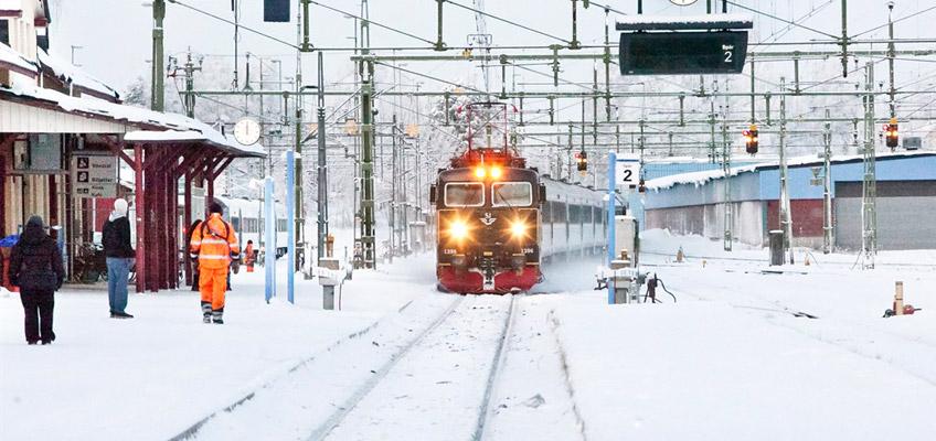 Tågstation i vinterskrud